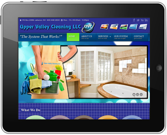 Image of iPad with responsive-designed website displayed.